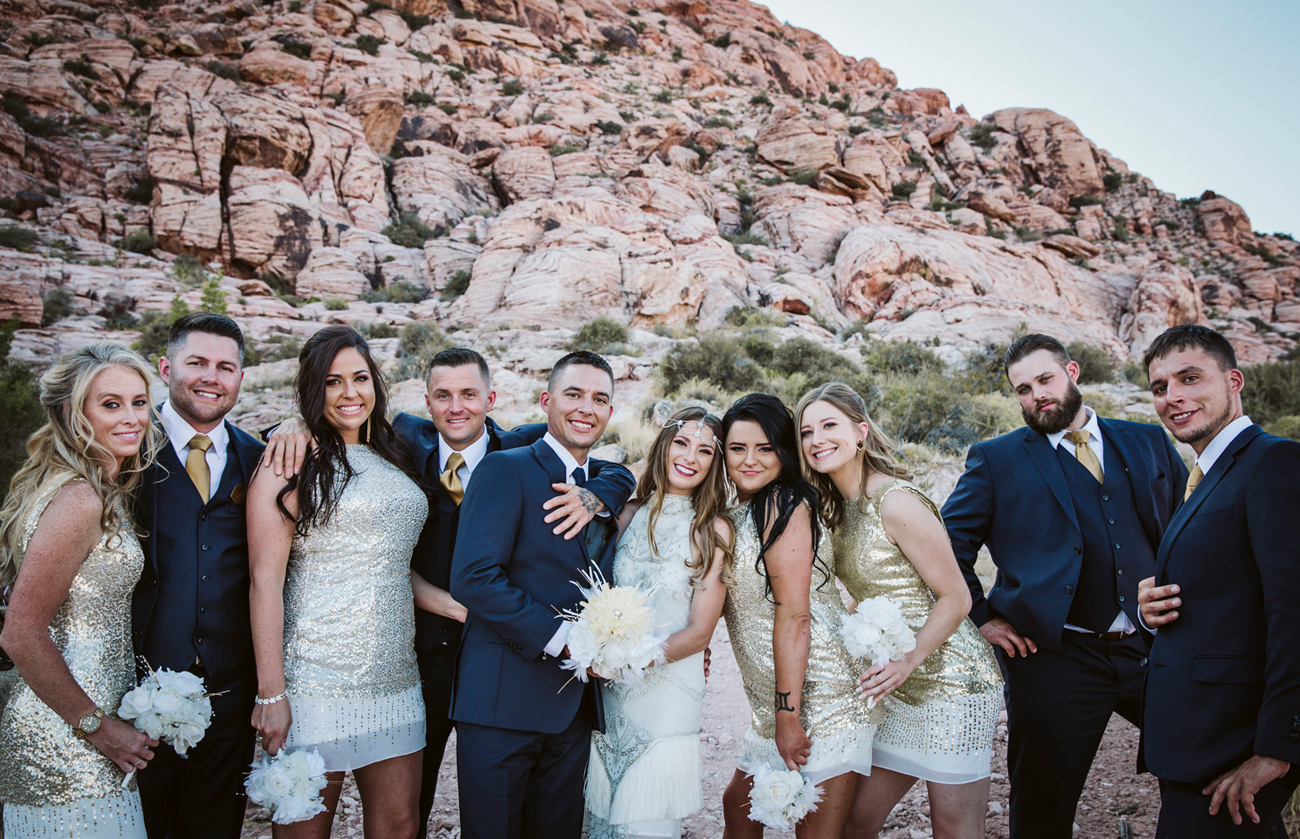 Las Vegas Wedding. Becca Henry Photography . Bridal party photos at Red Rock Wedding .