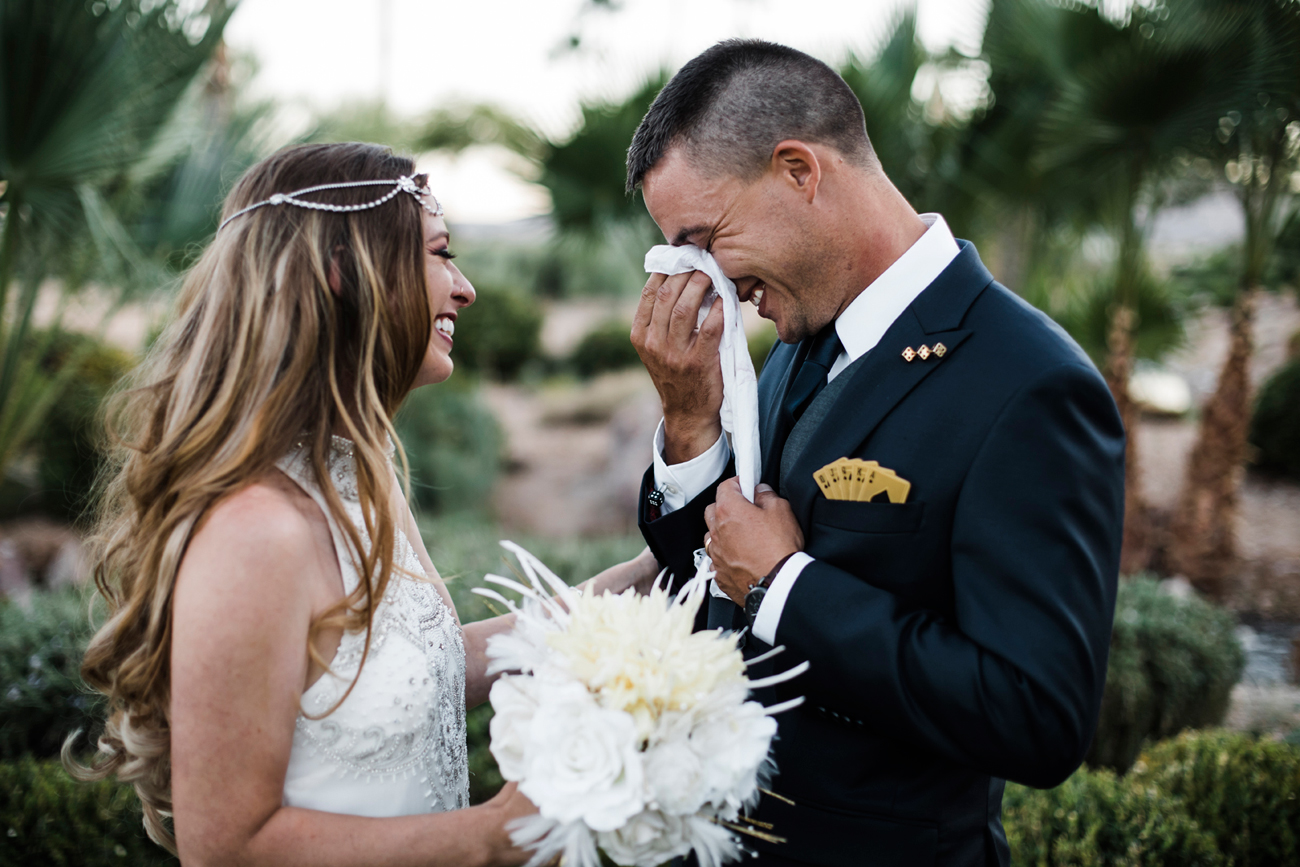 Las Vegas Wedding. Red Rocks Wedding . Becca Henry Photography . Groom wipes away tear at Siena Golf Club.
