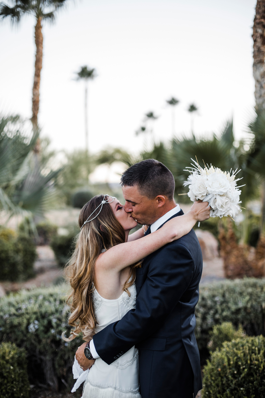 Las Vegas Wedding. Red Rocks Wedding . Becca Henry Photography . Bride and groom with DIY bouquet at Siena Golf Club.