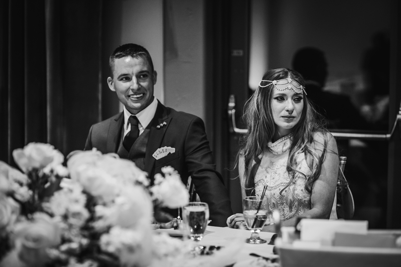 Bride and groom getting teary eyed from best mans' toast. Las Vegas Wedding and Red Rocks Wedding . Siena Golf Club Wedding. Becca Henry Photography .
