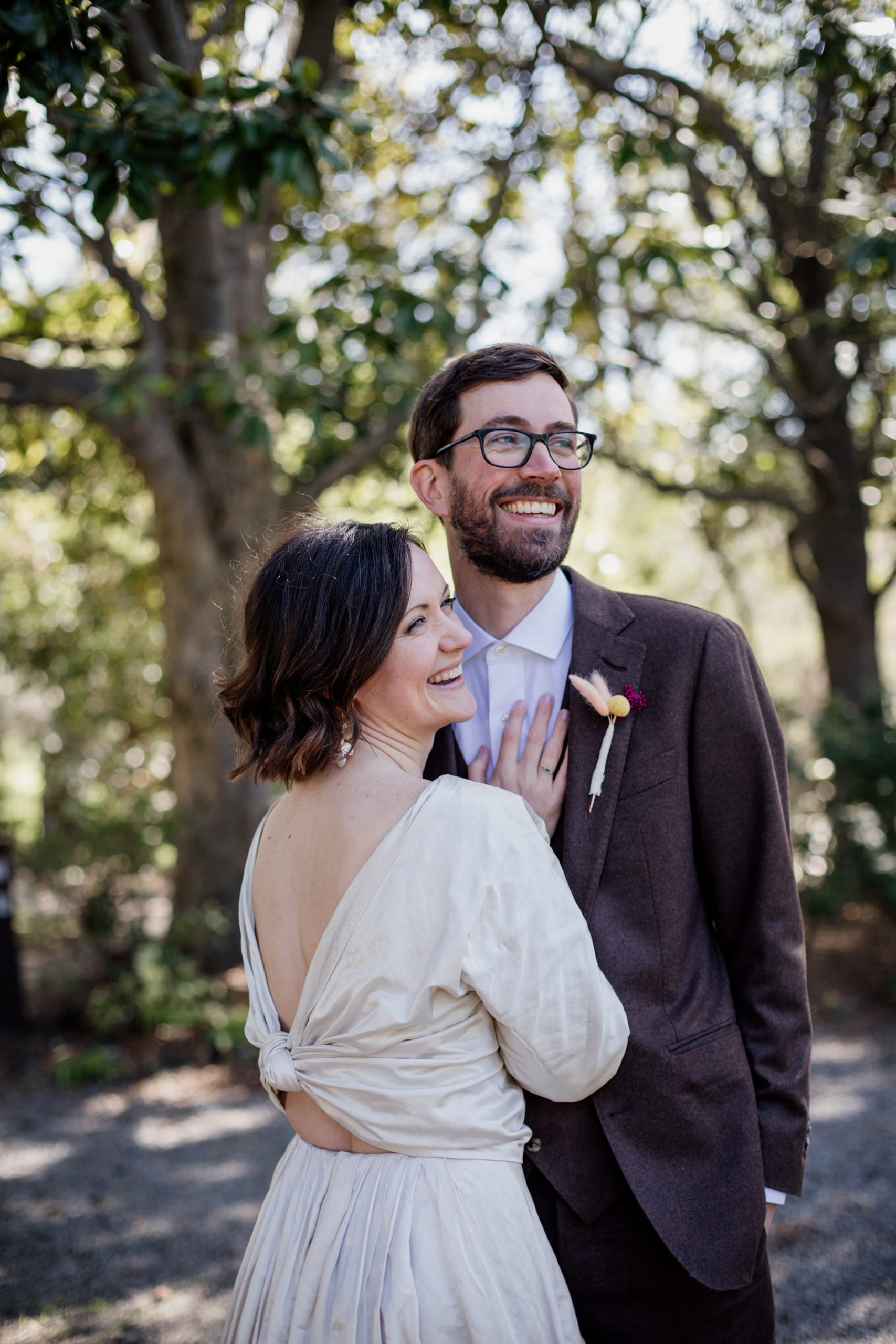 Bride and groom at Olema House for Point Reyes Elopement