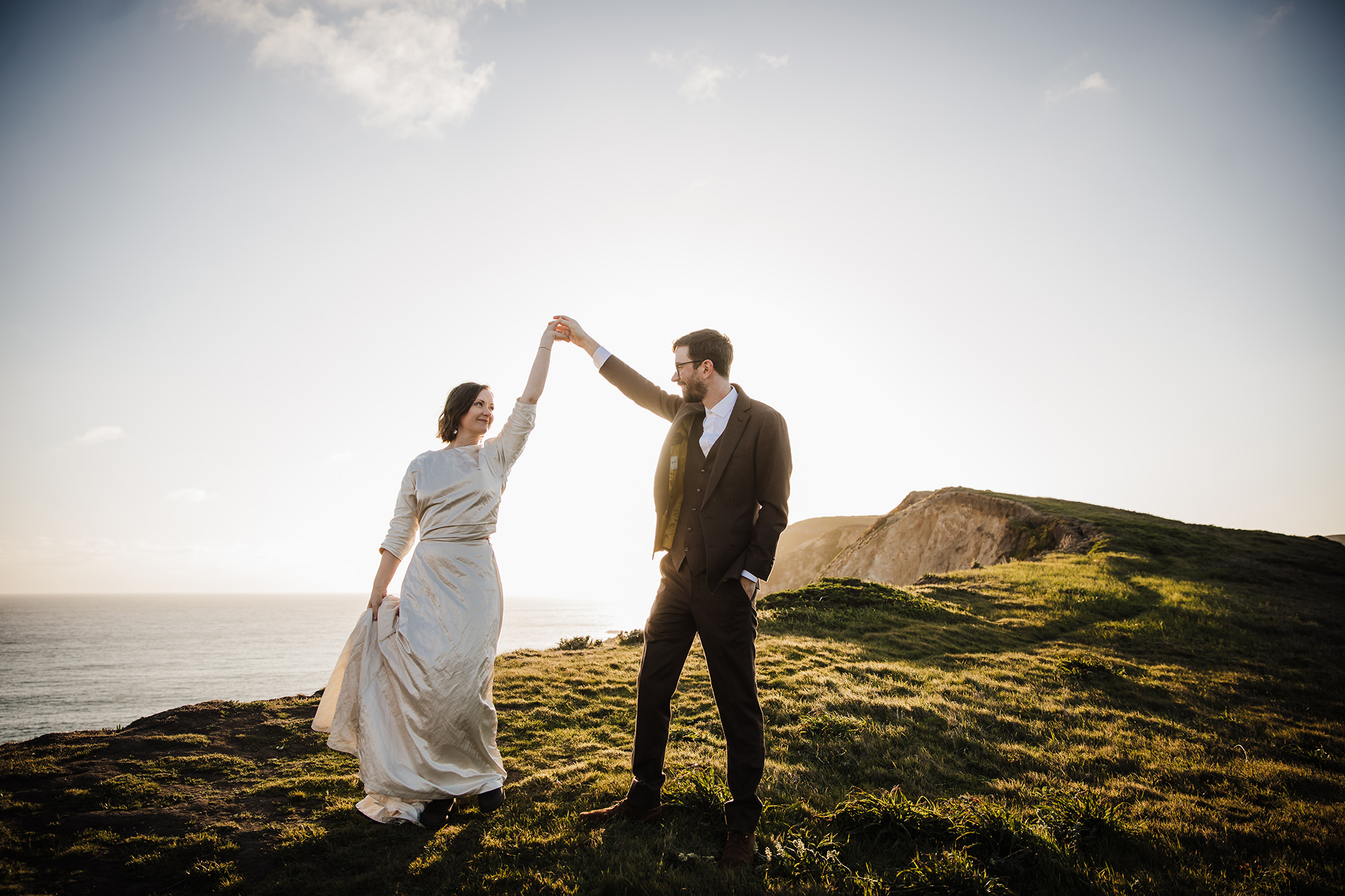Bride and groom dance at Chimney Rock for Point Reyes Elopement.