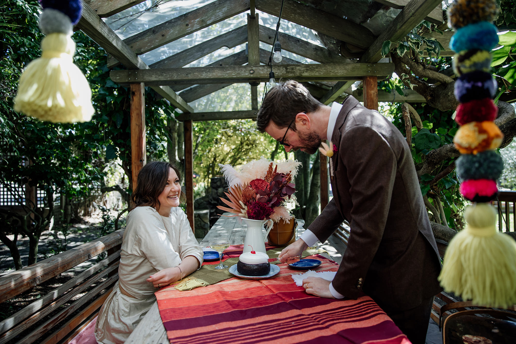 Bride and groom have a picnic elopement at Olema House.