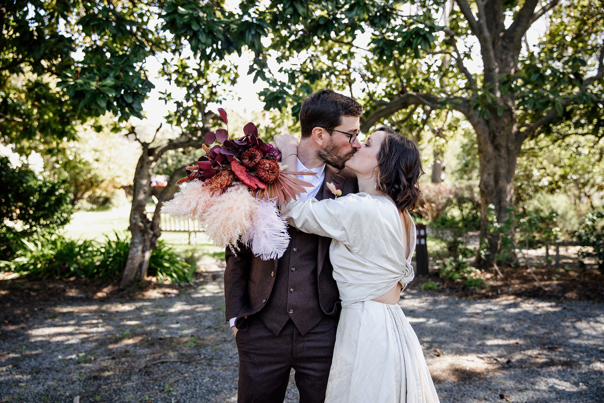 Bride and groom portrait at Olema House for Point Reyes elopement