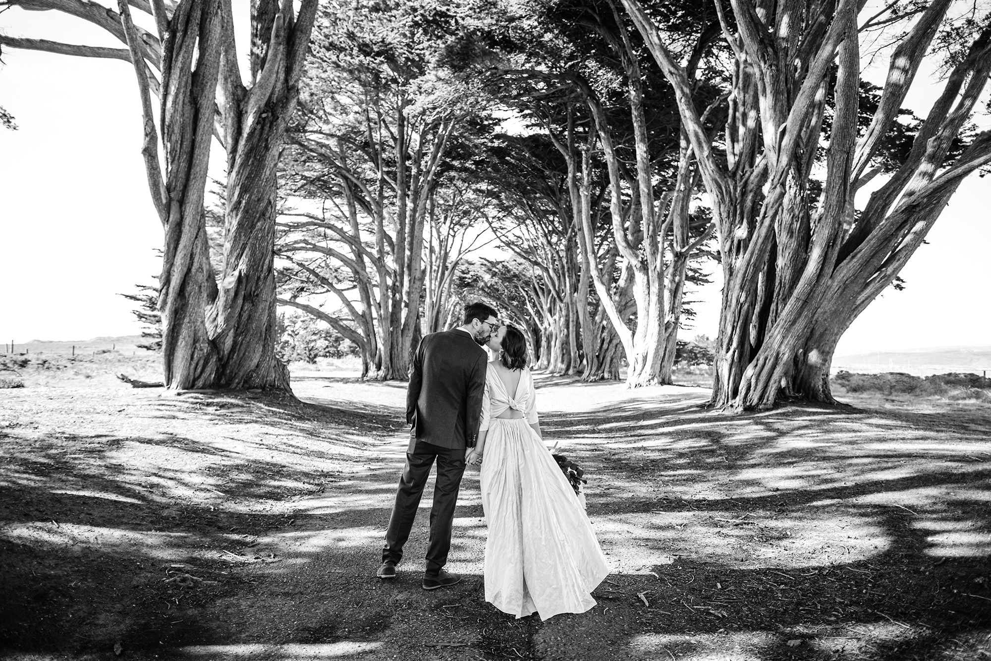 BW photo of bride and groom at the Cypress Tree Tunnel for Point Reyes Elopement.