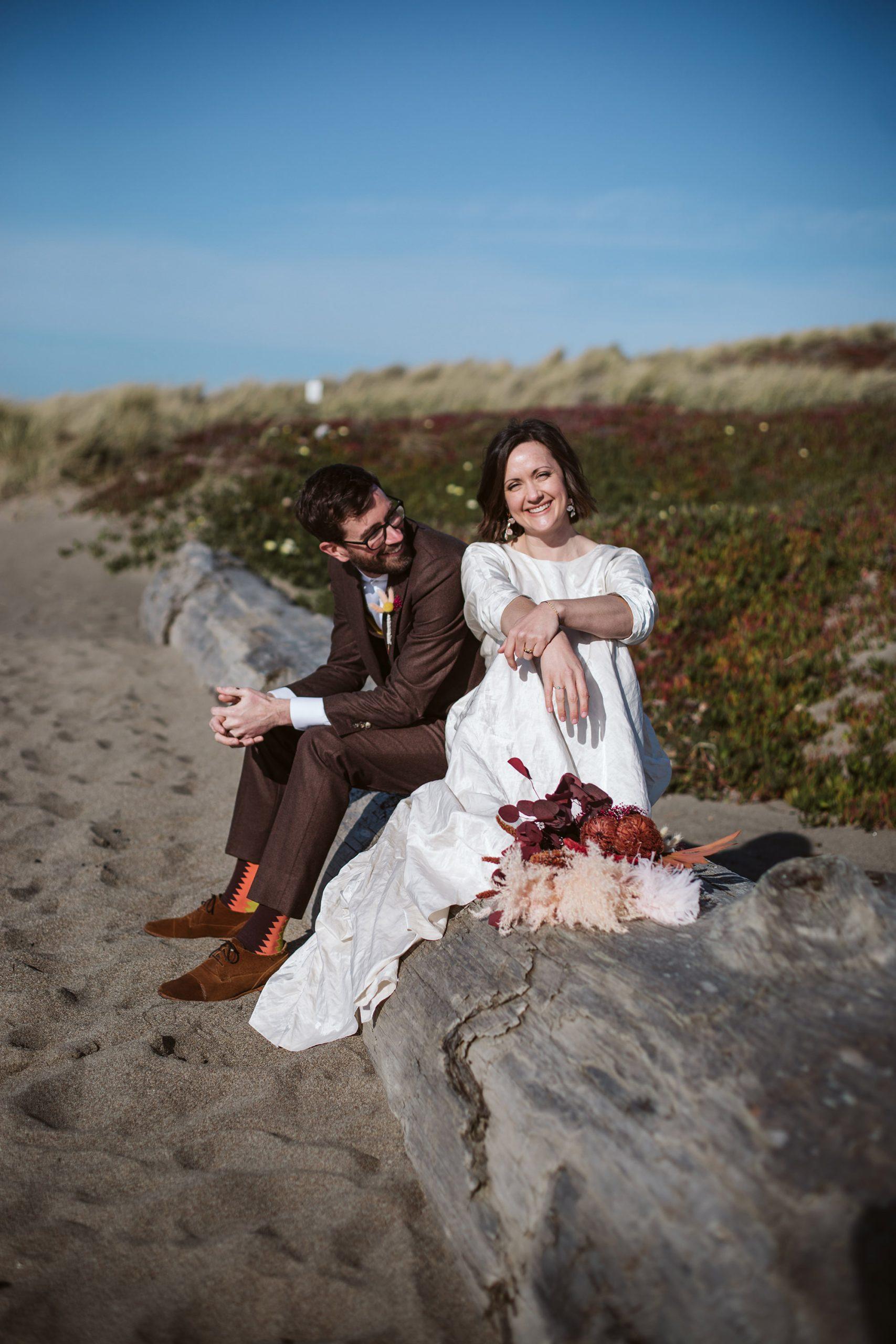 Bride on beach during Point Reyes Wedding
