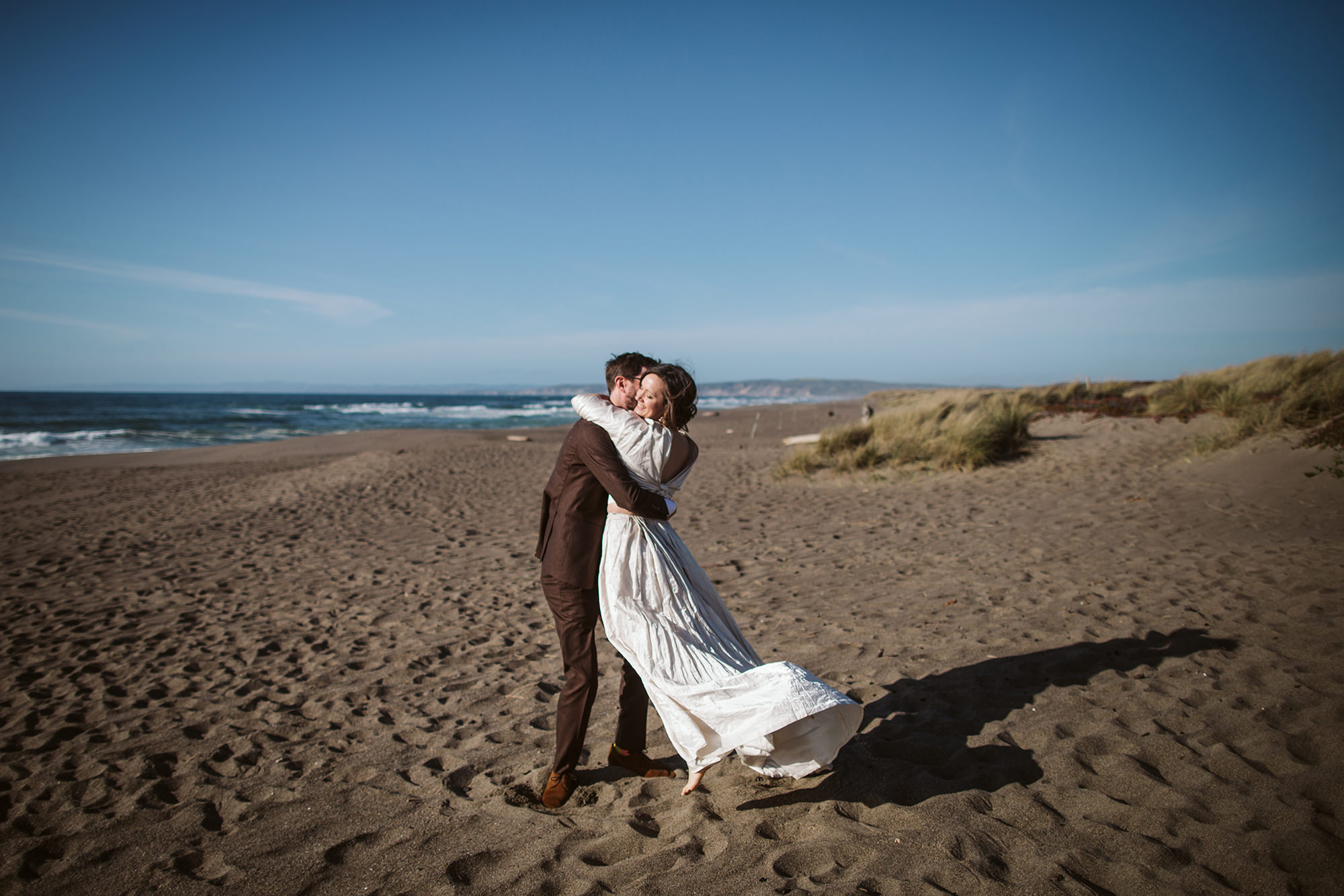 Bride and groom at Point Reyes Beach elopement