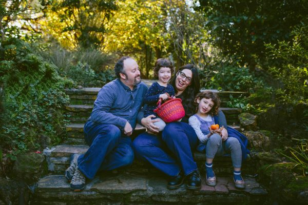 Becca Henry Photography- Family sitting on stairs in Lake Temescal -