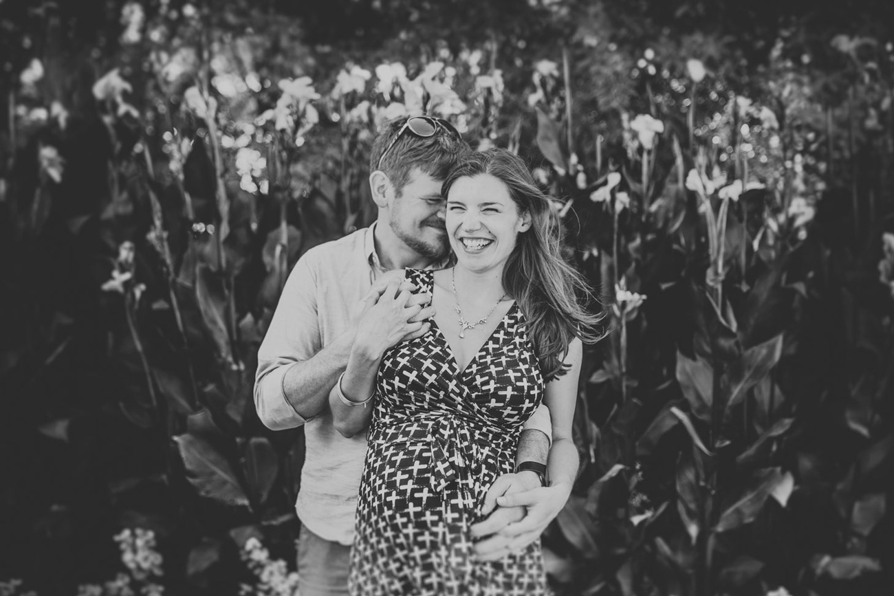 Becca Henry Photography - Oakland Maternity photography- black and white photo of mom and dad to be in Golden Gate Park