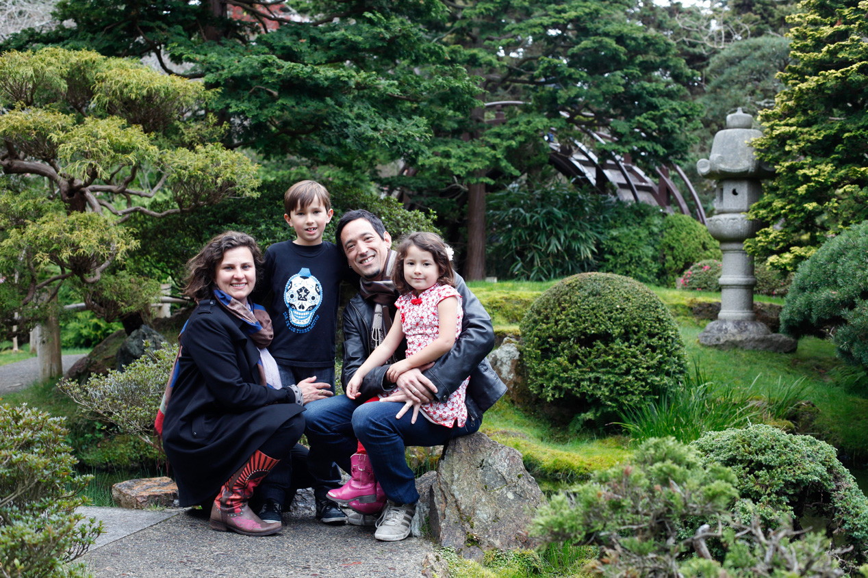 Becca Henry Photography- Family portraits in Japanese Tea Garden . mom is wearing cool cowboy boots - San Francisco