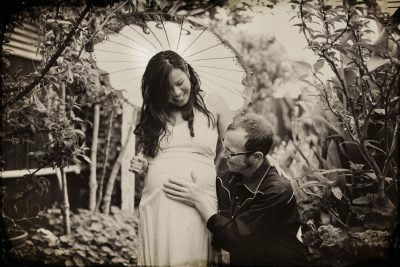 Becca Henry Photography - Oakland Maternity photography-Vintage styled beautiful momma to be in front of Airstream.