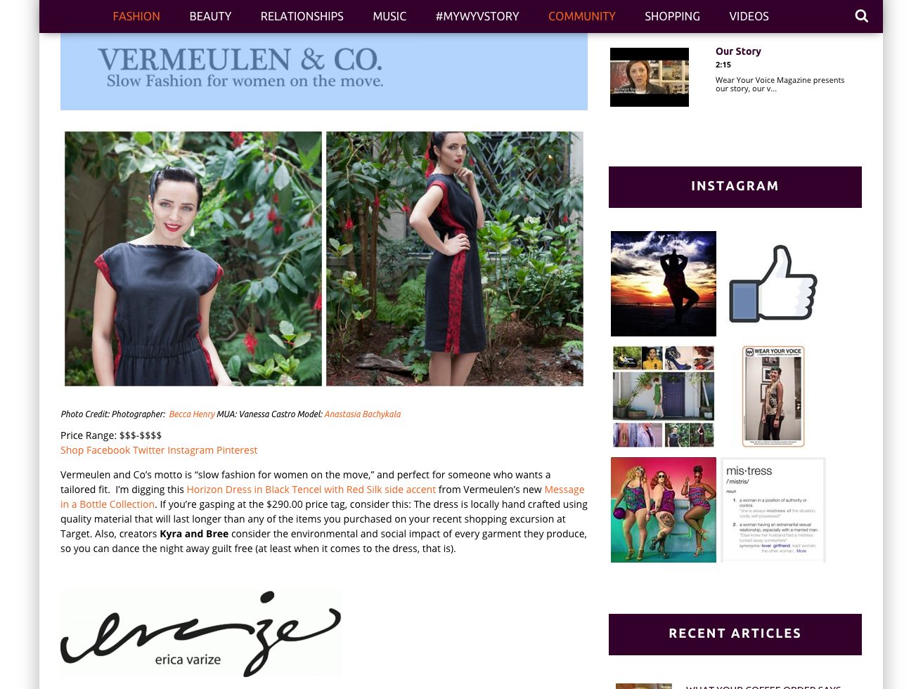 Becca Henry Fashion Photography - Article about Vermeulen& Co